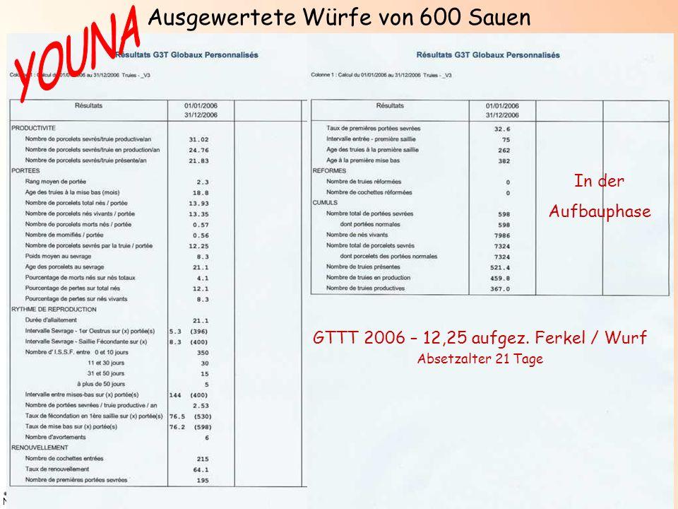 N2/PREG+/NOV07 GTTT 2006 – 12,25 aufgez. Ferkel / Wurf Absetzalter 21 Tage In der Aufbauphase Ausgewertete Würfe von 600 Sauen