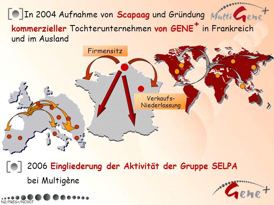 N2/PREG+/NOV07 In 2004 Aufnahme von Scapaag und Gründung Firmensitz kommerzieller Tochterunternehmen von GENE + in Frankreich und im Ausland Verkaufs-