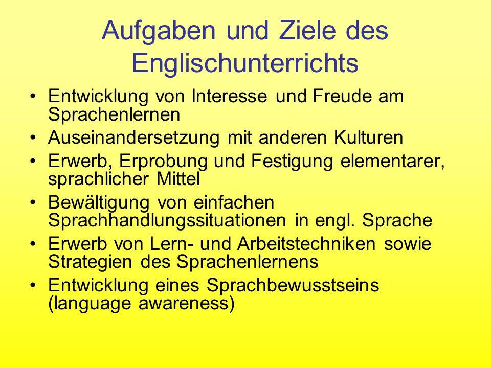 Aufgaben und Ziele des Englischunterrichts Entwicklung von Interesse und Freude am Sprachenlernen Auseinandersetzung mit anderen Kulturen Erwerb, Erpr