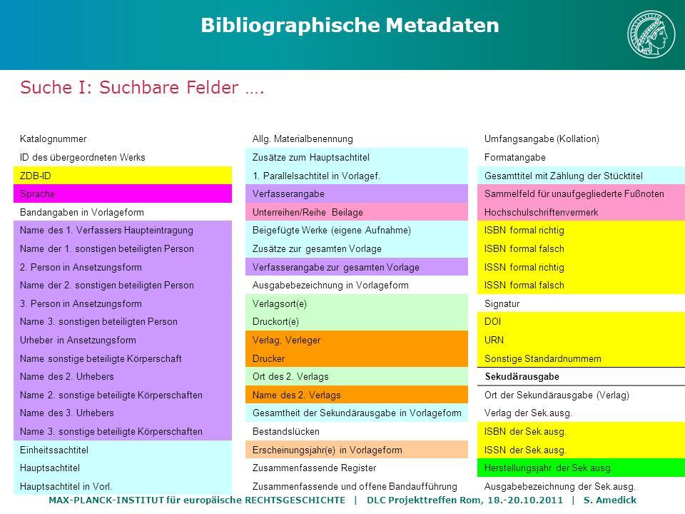 MAX-PLANCK-INSTITUT für europäische RECHTSGESCHICHTE | DLC Projekttreffen Rom, 18.-20.10.2011 | S. Amedick Suche I: Suchbare Felder …. Bibliographisch