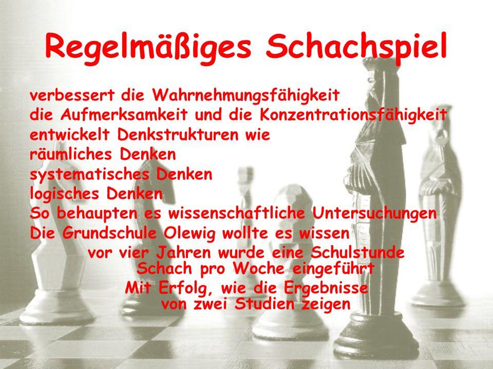 Regelmäßiges Schachspiel verbessert die Wahrnehmungsfähigkeit die Aufmerksamkeit und die Konzentrationsfähigkeit entwickelt Denkstrukturen wie räumlic