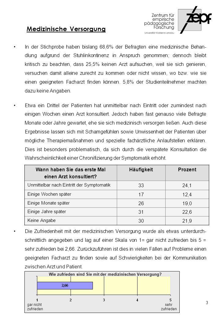Lediglich ein Drittel (30,7%) der befragten Personen gibt an, geeignete Kontinenz- hilfsmittel gefunden zu haben; bei fast 50% (41,6%) ist dies nur teilweise, bei 21,2% gar nicht der Fall.