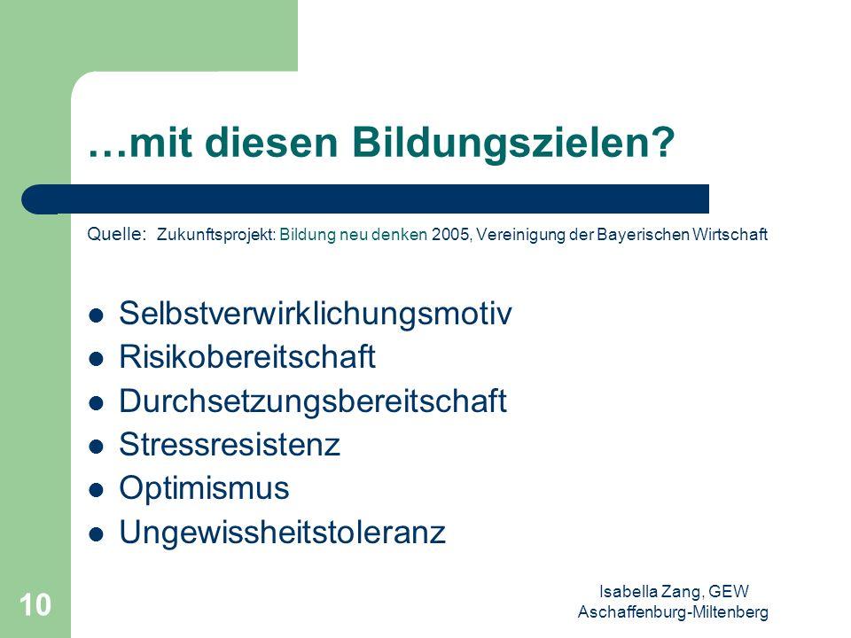 Isabella Zang, GEW Aschaffenburg-Miltenberg 9 …im Bildungssystem der Zukunft….? Quelle: Zukunftsprojekt: Bildung neu denken 2005, Vereinigung der Baye