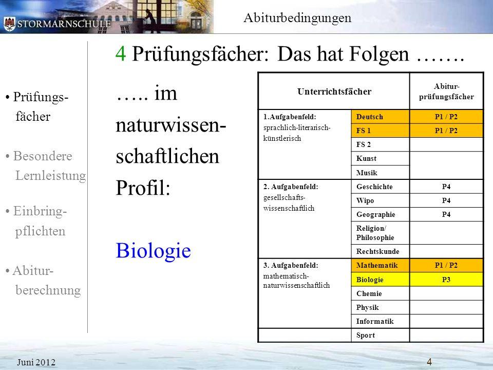 Prüfungs- fächer Besondere Lernleistung Einbring- pflichten Abitur- berechnung Abiturbedingungen 4 Prüfungsfächer: Das hat Folgen ……. Juni 20124 Unter