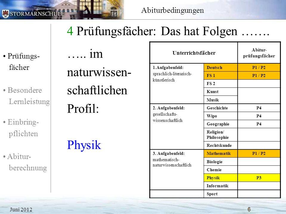 Prüfungs- fächer Besondere Lernleistung Einbring- pflichten Abitur- berechnung Abiturbedingungen 4 Prüfungsfächer: Das hat Folgen ……. Juni 20126 Unter