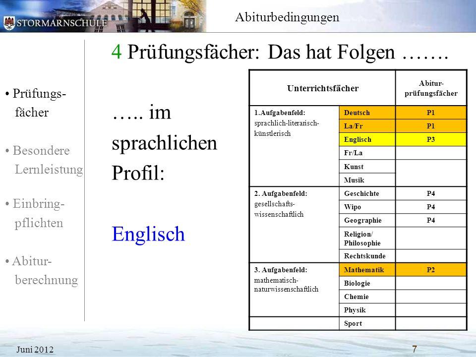 Prüfungs- fächer Besondere Lernleistung Einbring- pflichten Abitur- berechnung Abiturbedingungen 4 Prüfungsfächer: Das hat Folgen ……. Juni 20127 Unter