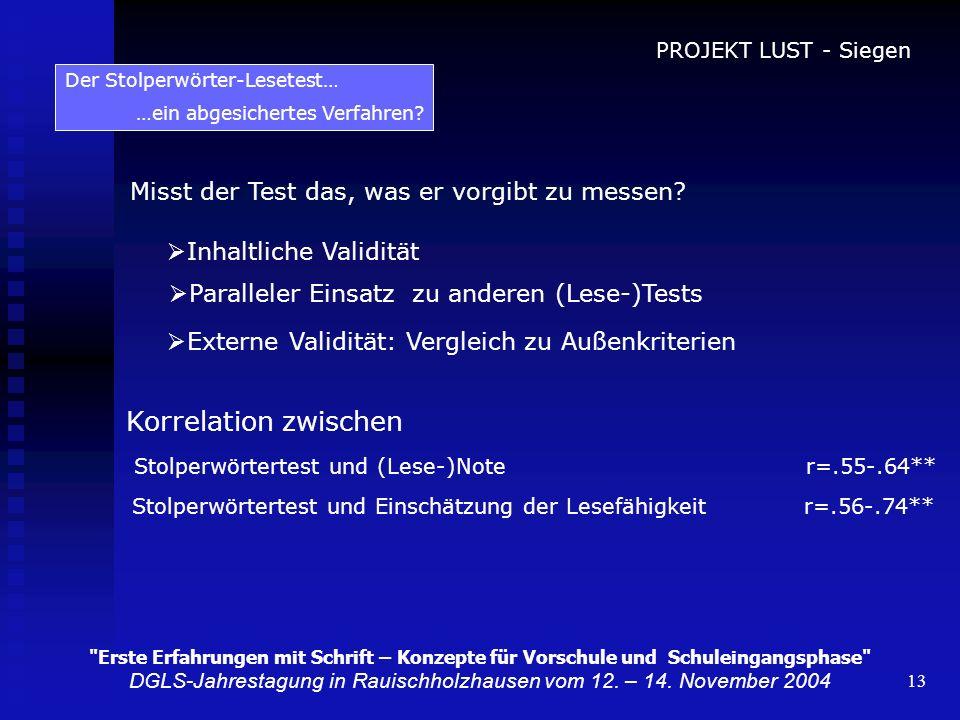 13 Misst der Test das, was er vorgibt zu messen? Inhaltliche Validität Paralleler Einsatz zu anderen (Lese-)Tests Externe Validität: Vergleich zu Auße