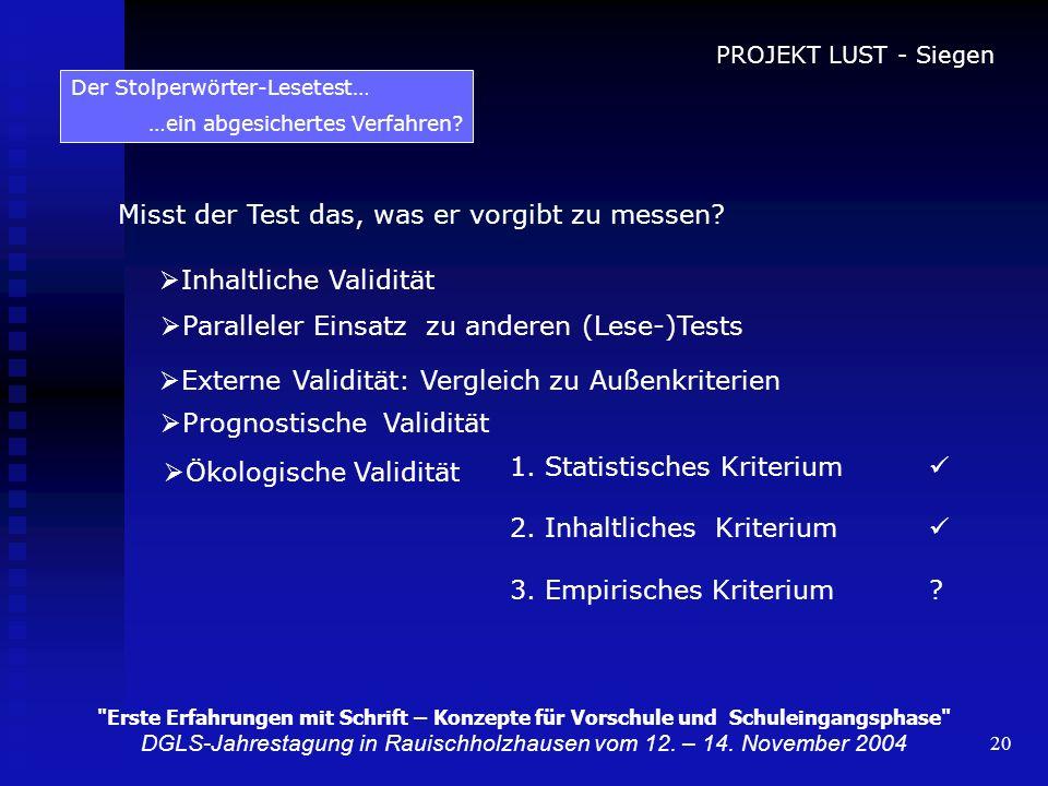 20 Der Stolperwörter-Lesetest… …ein abgesichertes Verfahren? Misst der Test das, was er vorgibt zu messen? Inhaltliche Validität Paralleler Einsatz zu