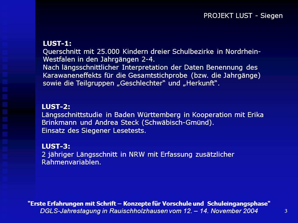 3 PROJEKT LUST - Siegen LUST-1: Querschnitt mit 25.000 Kindern dreier Schulbezirke in Nordrhein- Westfalen in den Jahrgängen 2-4. Nach längsschnittlic