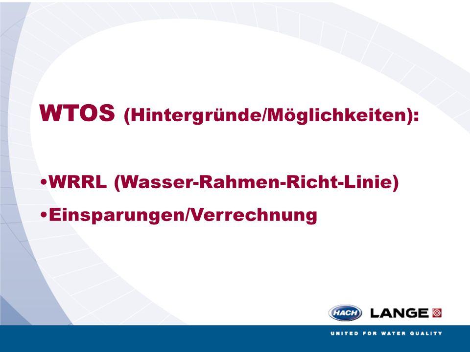 WTOS (Hintergründe/Möglichkeiten): WRRL (Wasser-Rahmen-Richt-Linie) Einsparungen/Verrechnung