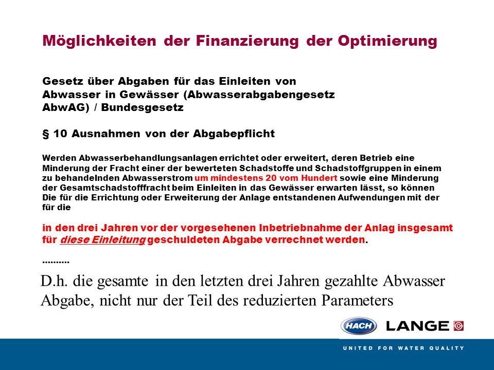 Möglichkeiten der Finanzierung der Optimierung Gesetz über Abgaben für das Einleiten von Abwasser in Gewässer (Abwasserabgabengesetz AbwAG) / Bundesge