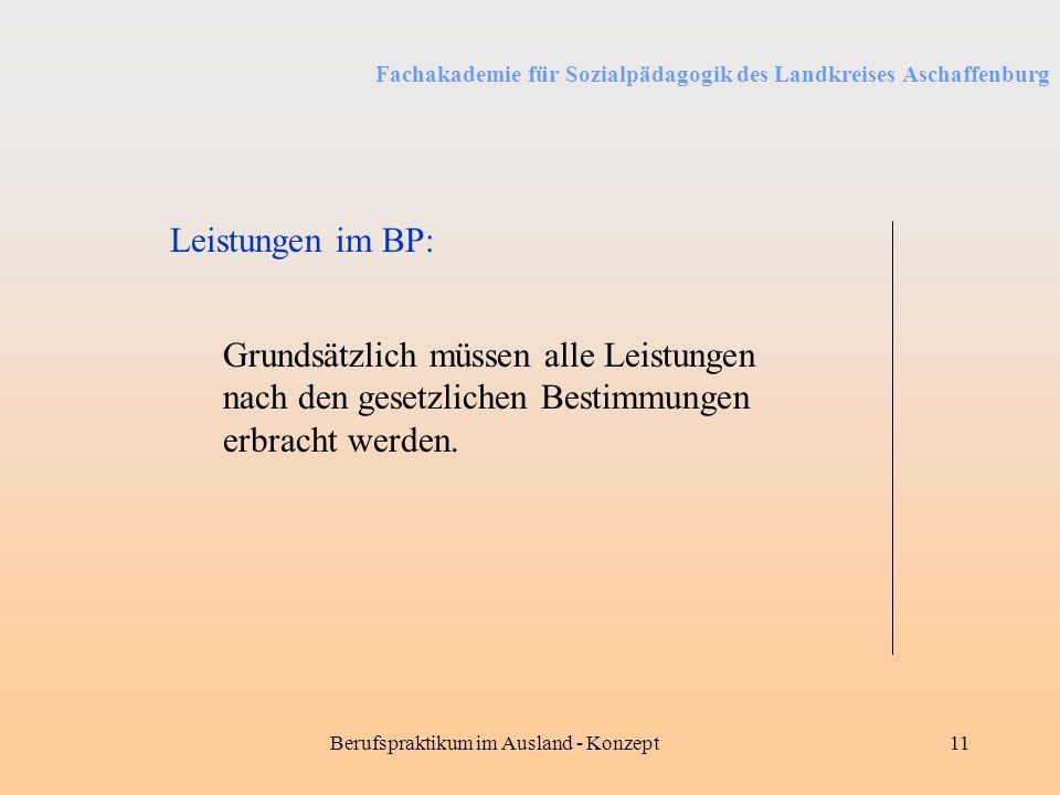 Fachakademie für Sozialpädagogik des Landkreises Aschaffenburg Berufspraktikum im Ausland - Konzept11 Leistungen im BP: Grundsätzlich müssen alle Leis