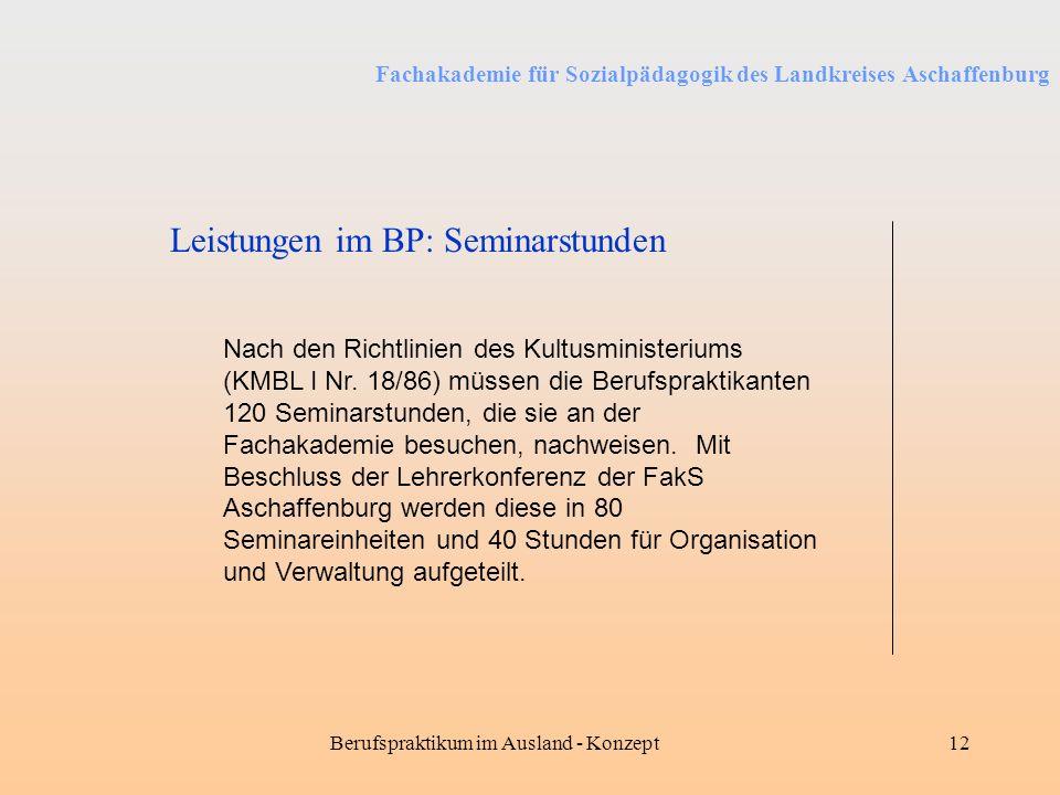 Fachakademie für Sozialpädagogik des Landkreises Aschaffenburg Berufspraktikum im Ausland - Konzept12 Leistungen im BP: Seminarstunden Nach den Richtl