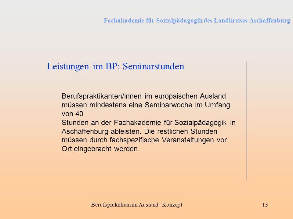 Fachakademie für Sozialpädagogik des Landkreises Aschaffenburg Berufspraktikum im Ausland - Konzept13 Leistungen im BP: Seminarstunden Berufspraktikan