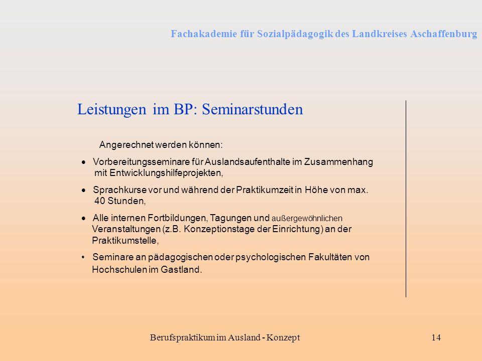 Fachakademie für Sozialpädagogik des Landkreises Aschaffenburg Berufspraktikum im Ausland - Konzept14 Leistungen im BP: Seminarstunden Angerechnet wer