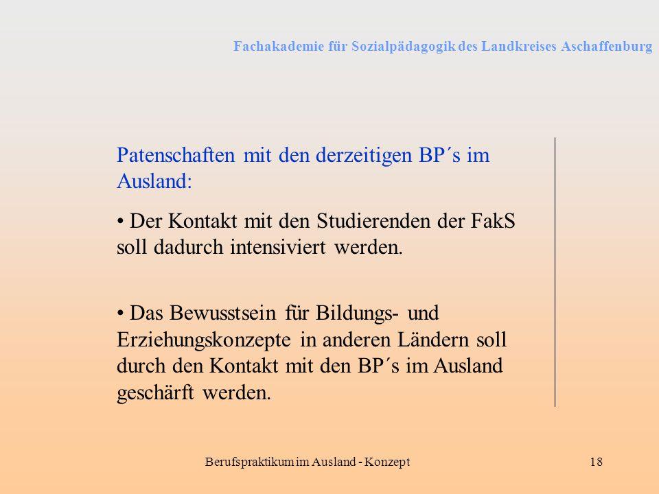 Fachakademie für Sozialpädagogik des Landkreises Aschaffenburg Berufspraktikum im Ausland - Konzept18 Patenschaften mit den derzeitigen BP´s im Auslan