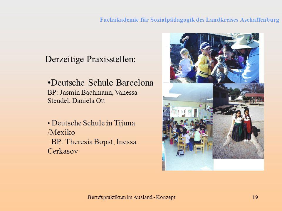 Fachakademie für Sozialpädagogik des Landkreises Aschaffenburg Berufspraktikum im Ausland - Konzept19 Derzeitige Praxisstellen: Deutsche Schule Barcel