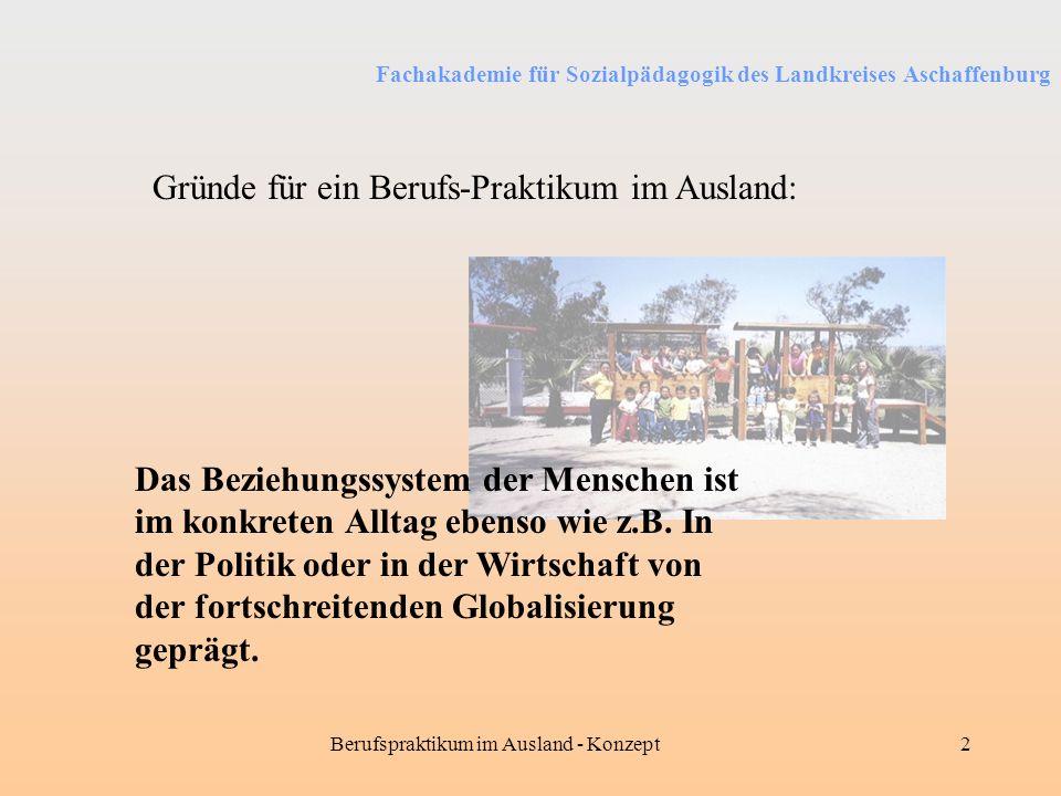Fachakademie für Sozialpädagogik des Landkreises Aschaffenburg Berufspraktikum im Ausland - Konzept2 Gründe für ein Berufs-Praktikum im Ausland: Das B