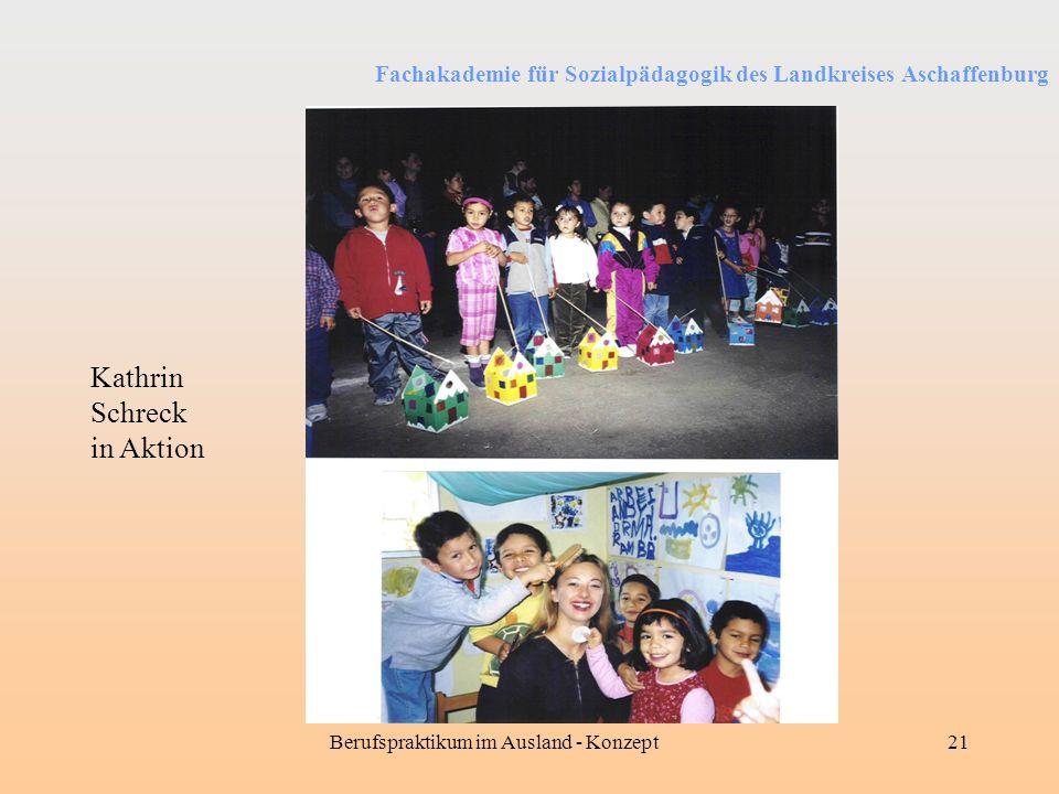 Fachakademie für Sozialpädagogik des Landkreises Aschaffenburg Berufspraktikum im Ausland - Konzept21 Kathrin Schreck in Aktion
