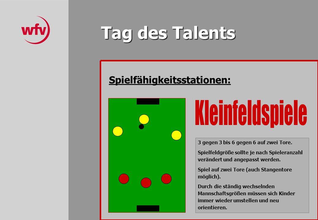 Tag des Talents Spielfähigkeitsstationen: 3 gegen 3 bis 6 gegen 6 auf zwei Tore.