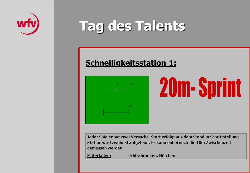 Tag des Talents Schnelligkeitsstation 1: Jeder Spieler hat zwei Versuche.