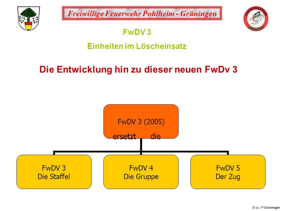 Freiwillige Feuerwehr Pohlheim - Grüningen © by JFGrüningen FwDV 3 Einheiten im Löscheinsatz FwDV 3 (2005) FwDV 3 Die Staffel FwDV 4 Die Gruppe FwDV 5
