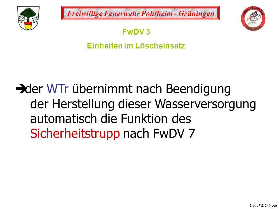 Freiwillige Feuerwehr Pohlheim - Grüningen © by JFGrüningen FwDV 3 Einheiten im Löscheinsatz der WTr übernimmt nach Beendigung der Herstellung dieser