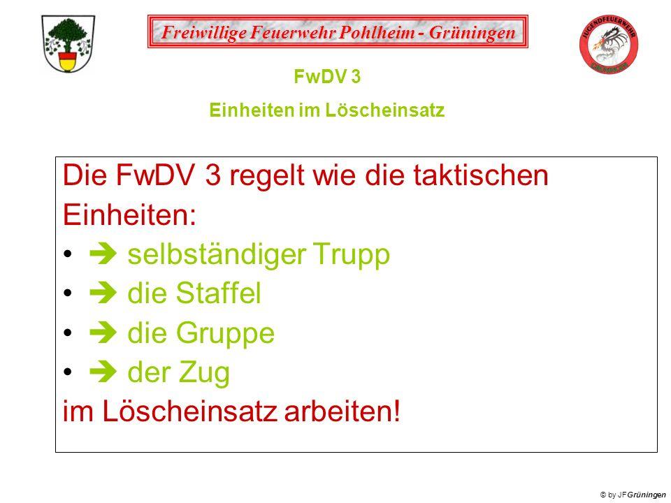 Freiwillige Feuerwehr Pohlheim - Grüningen © by JFGrüningen Die FwDV 3 regelt wie die taktischen Einheiten: selbständiger Trupp die Staffel die Gruppe