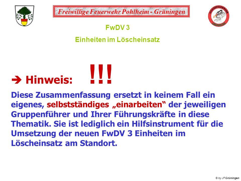 Freiwillige Feuerwehr Pohlheim - Grüningen © by JFGrüningen FwDV 3 Einheiten im Löscheinsatz Hinweis: !!! Diese Zusammenfassung ersetzt in keinem Fall