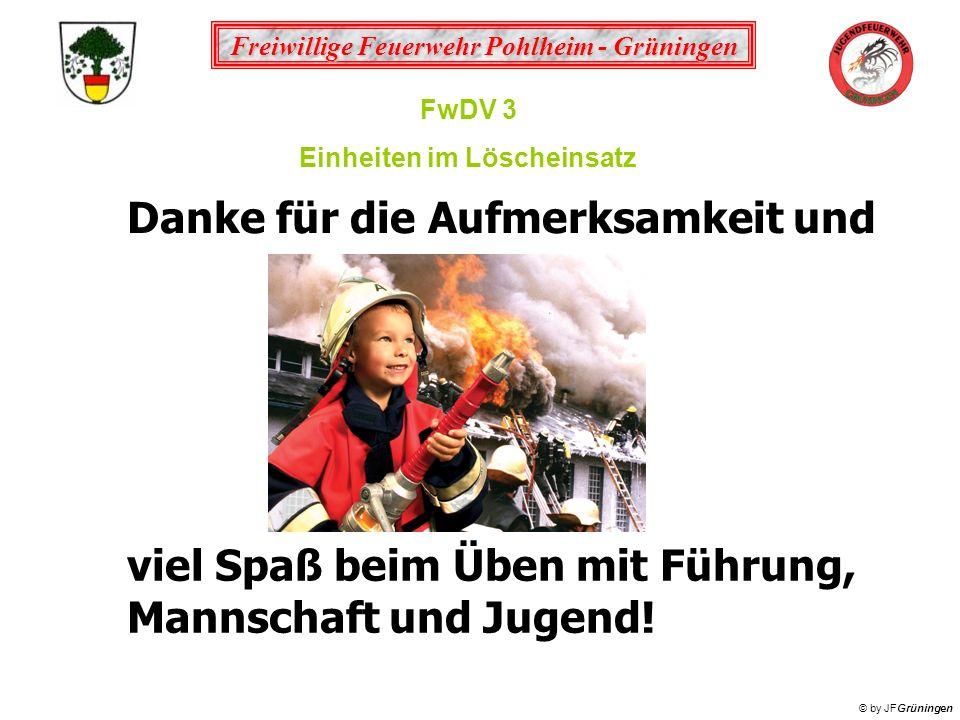 Freiwillige Feuerwehr Pohlheim - Grüningen © by JFGrüningen FwDV 3 Einheiten im Löscheinsatz Danke für die Aufmerksamkeit und viel Spaß beim Üben mit