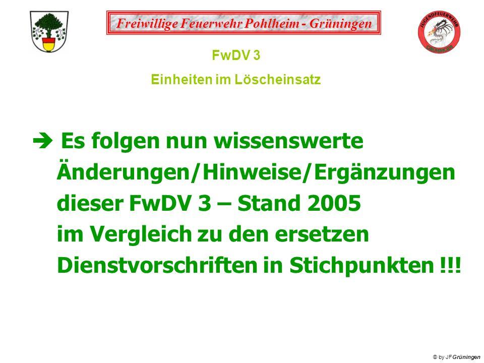 Freiwillige Feuerwehr Pohlheim - Grüningen © by JFGrüningen FwDV 3 Einheiten im Löscheinsatz Es folgen nun wissenswerte Änderungen/Hinweise/Ergänzunge