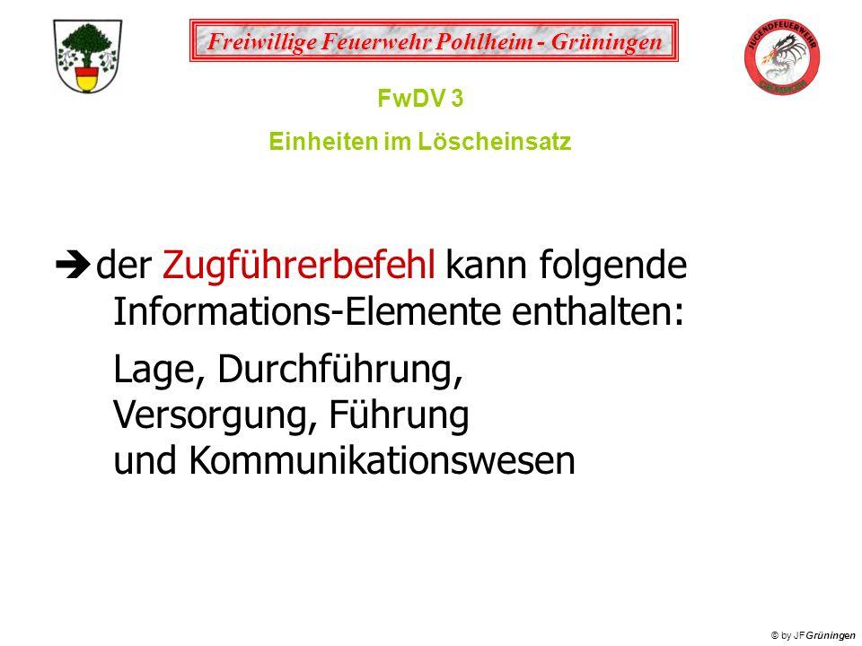 Freiwillige Feuerwehr Pohlheim - Grüningen © by JFGrüningen FwDV 3 Einheiten im Löscheinsatz der Zugführerbefehl kann folgende Informations-Elemente e