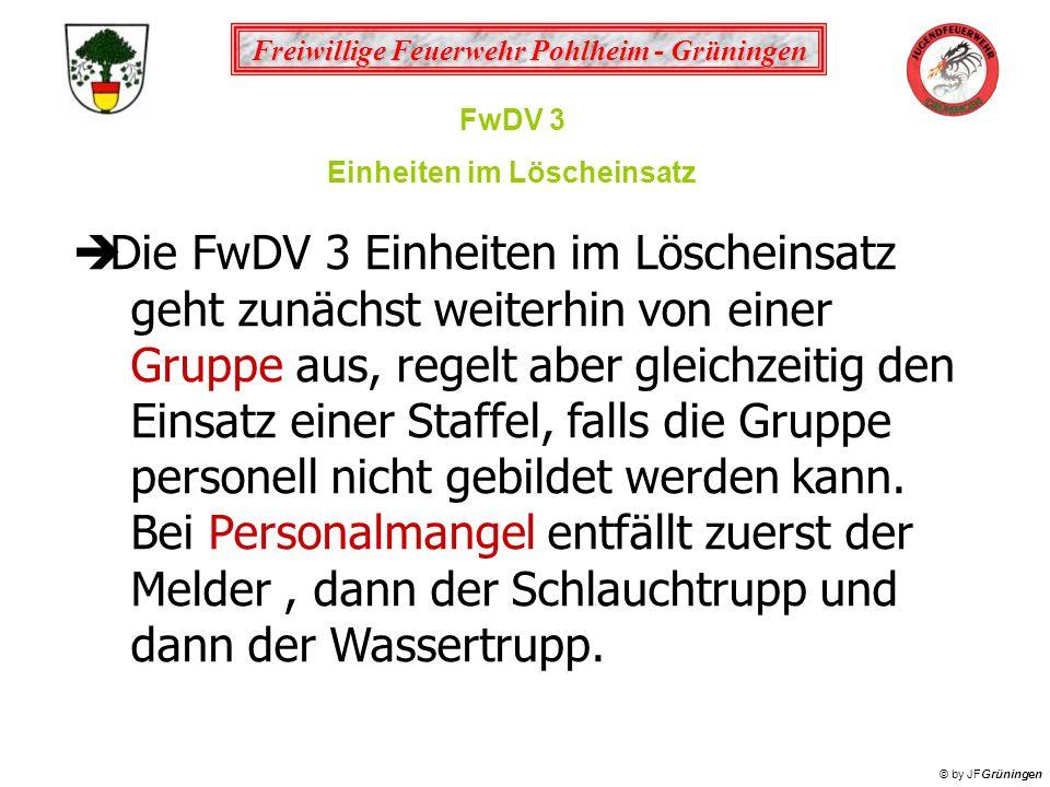 Freiwillige Feuerwehr Pohlheim - Grüningen © by JFGrüningen FwDV 3 Einheiten im Löscheinsatz die kleinste taktische Einheit ist der selbstständige Trupp (Truppführer / Truppmann / Maschinist) Stärke 1/2/3