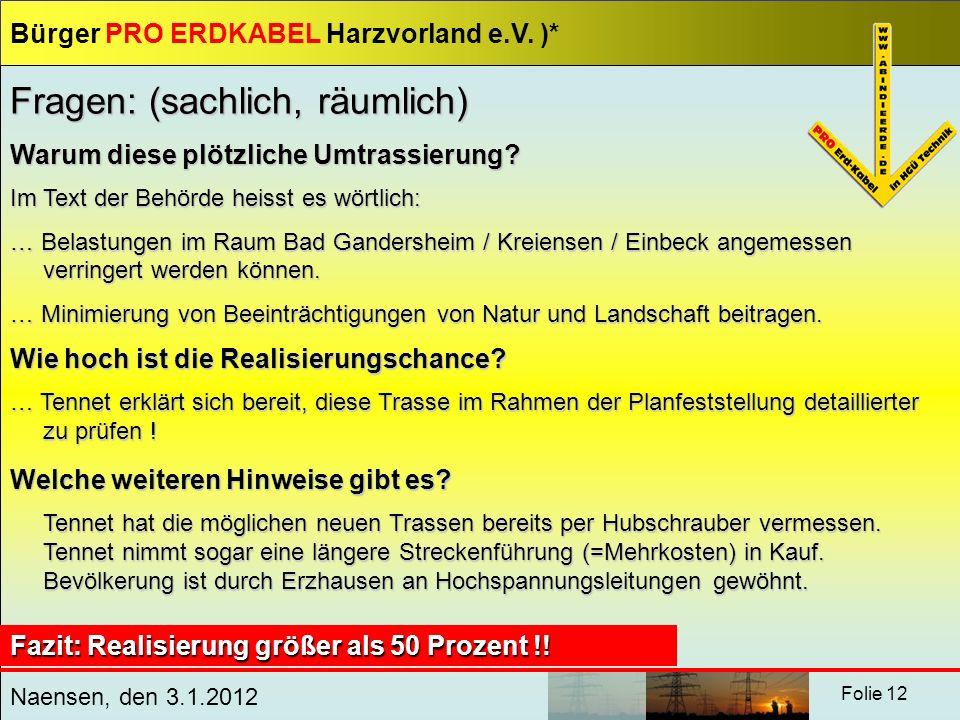 Bürger PRO ERDKABEL Harzvorland e.V. )* Naensen, den 3.1.2012 Folie 12 Fragen: (sachlich, räumlich) Warum diese plötzliche Umtrassierung? Im Text der
