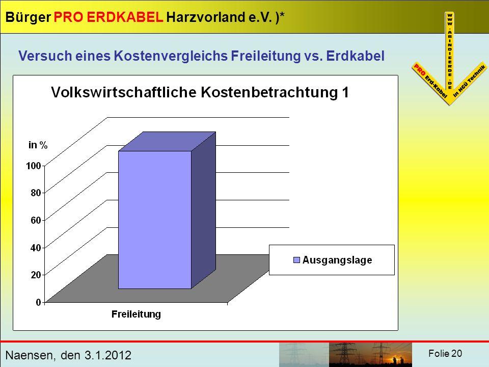 Bürger PRO ERDKABEL Harzvorland e.V. )* Naensen, den 3.1.2012 Folie 20 Versuch eines Kostenvergleichs Freileitung vs. Erdkabel
