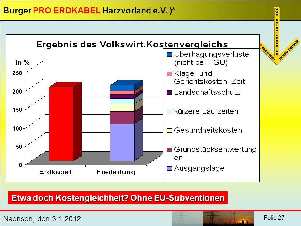 Bürger PRO ERDKABEL Harzvorland e.V. )* Naensen, den 3.1.2012 Folie 27 Etwa doch Kostengleichheit? Ohne EU-Subventionen