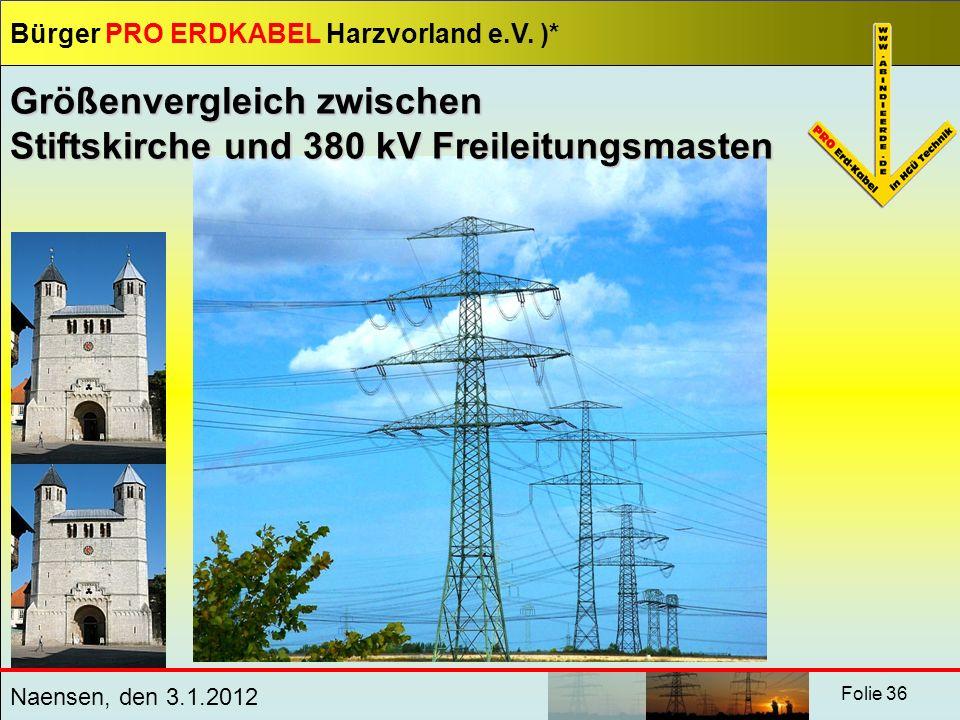 Bürger PRO ERDKABEL Harzvorland e.V. )* Naensen, den 3.1.2012 Folie 36 Größenvergleich zwischen Stiftskirche und 380 kV Freileitungsmasten