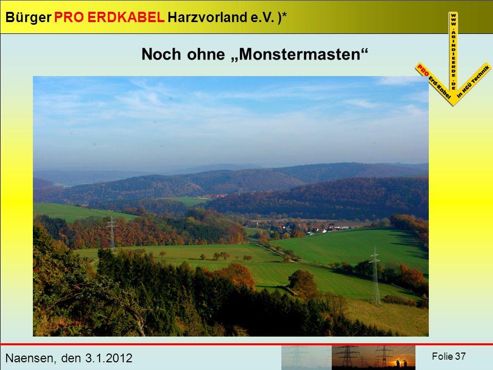 Bürger PRO ERDKABEL Harzvorland e.V. )* Naensen, den 3.1.2012 Folie 37 Noch ohne Monstermasten