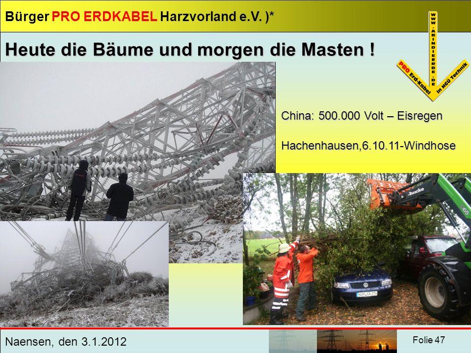 Bürger PRO ERDKABEL Harzvorland e.V. )* Naensen, den 3.1.2012 Folie 47 Heute die Bäume und morgen die Masten ! China: 500.000 Volt – Eisregen Hachenha