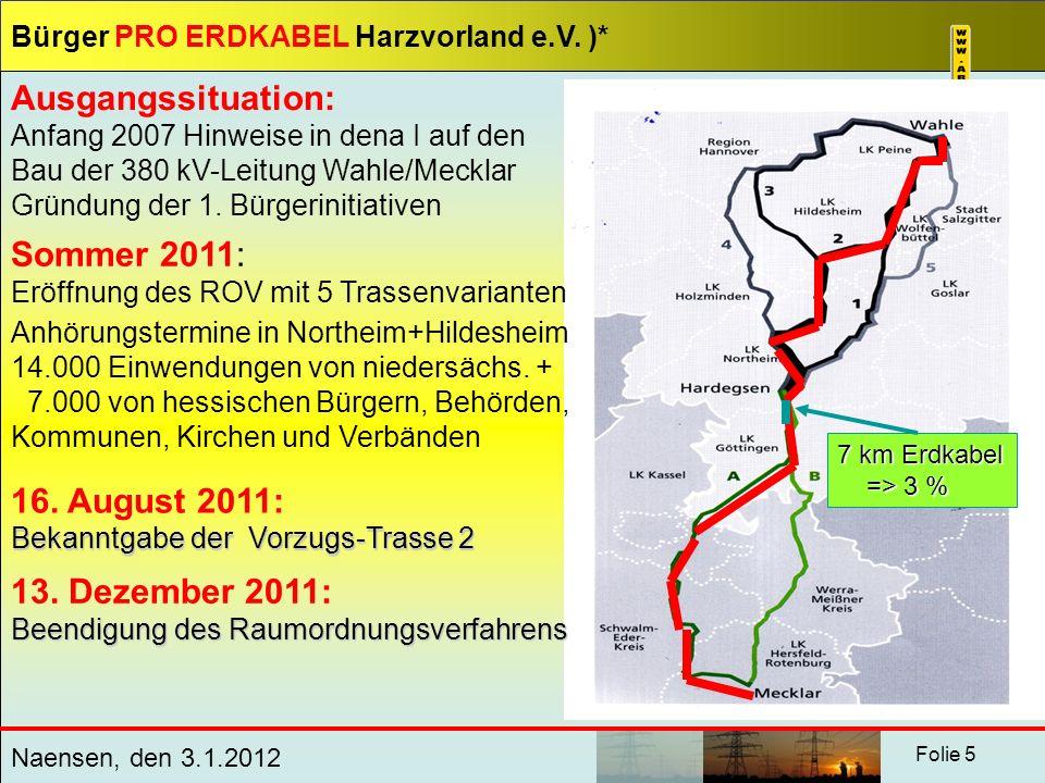 Bürger PRO ERDKABEL Harzvorland e.V. )* Naensen, den 3.1.2012 Folie 5 Ausgangssituation: Anfang 2007 Hinweise in dena I auf den Bau der 380 kV-Leitung
