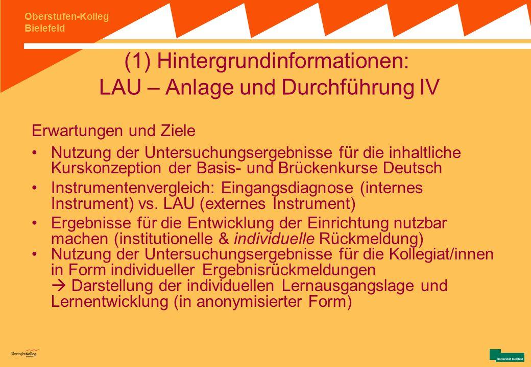 Oberstufen-Kolleg Bielefeld (1) Hintergrundinformationen: LAU – Anlage und Durchführung III LAU am OS: Anstoß und Erwartungen - Anstoß zur Kooperation