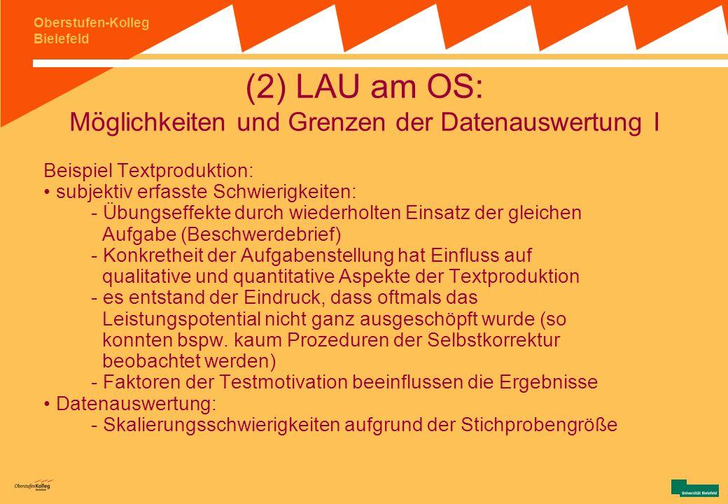 Oberstufen-Kolleg Bielefeld (1) Hintergrundinformationen: Notwendige Voraussetzungen für LSA an Einzelschulen II schulübergreifende Kooperation: Instr