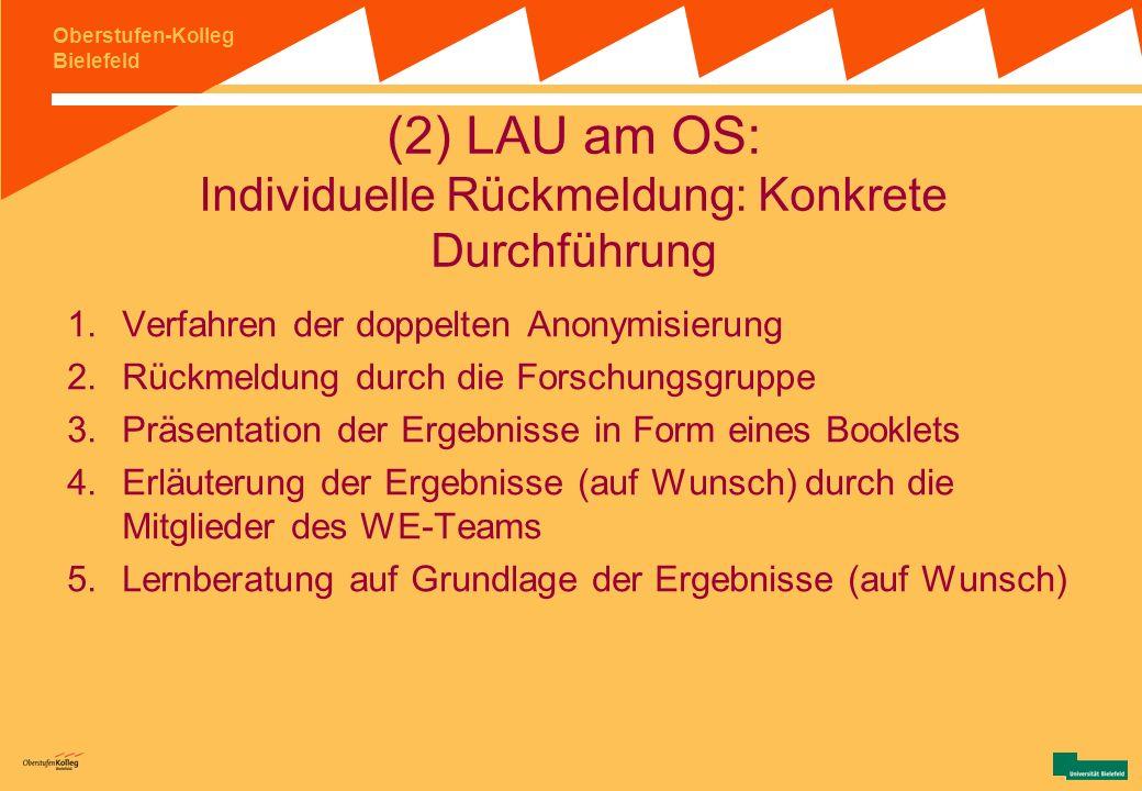 Oberstufen-Kolleg Bielefeld (2) LAU am OS: Individuelle Rückmeldung III Ziele: Transparenz für die Kollegiat/innen schaffen Individuelle Ergebnisrückm
