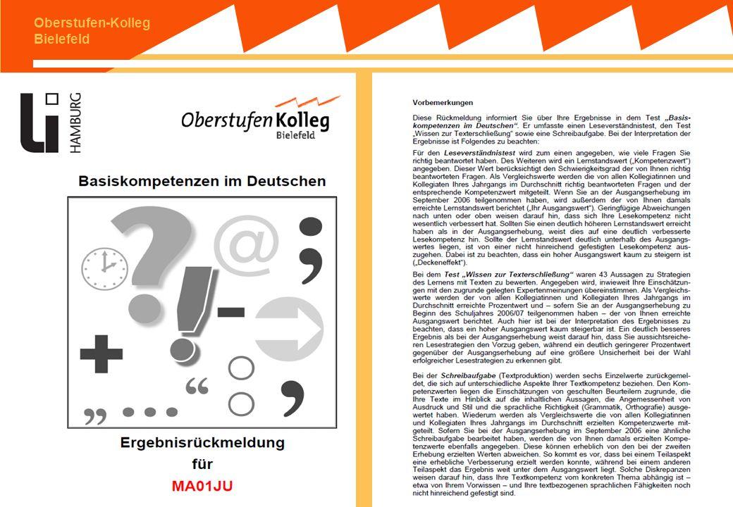 Oberstufen-Kolleg Bielefeld (2) LAU am OS: Individuelle Rückmeldung: Konkrete Durchführung 1.Verfahren der doppelten Anonymisierung 2.Rückmeldung durc