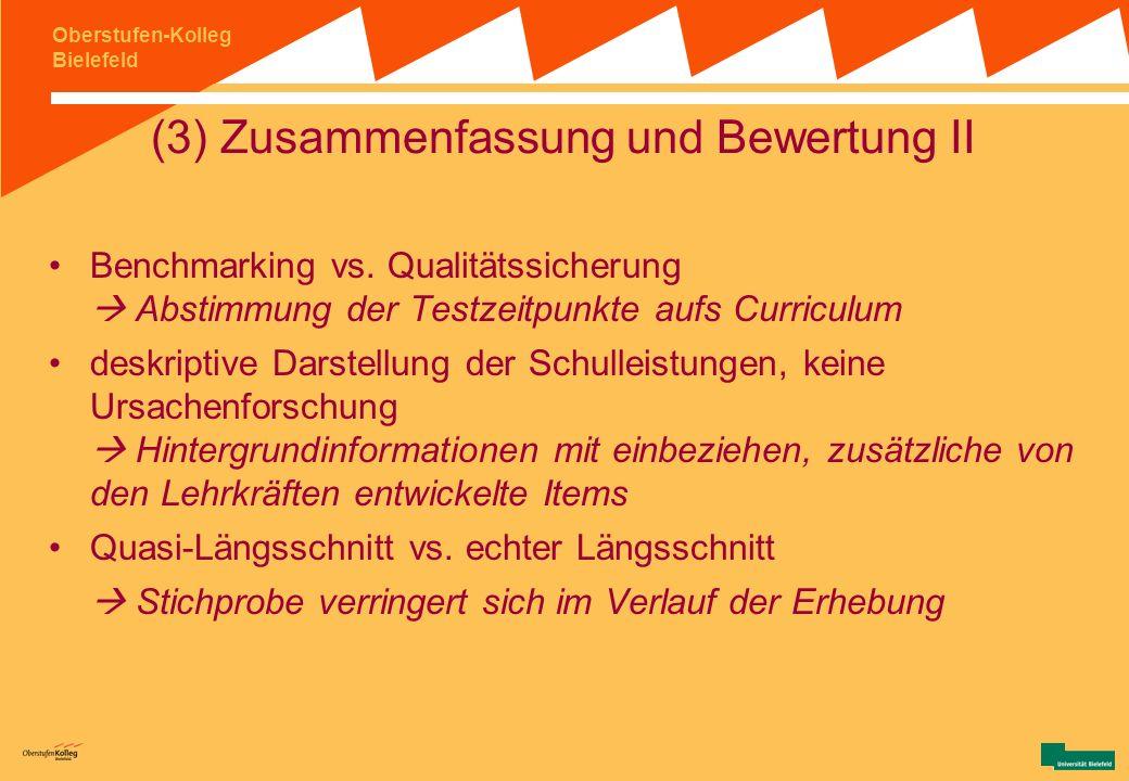 Oberstufen-Kolleg Bielefeld (3) Zusammenfassung und Bewertung I Rücklaufquote (sinkendes Interesse bei den Kollegiat/innen über die Zeit) Ergebnisse s