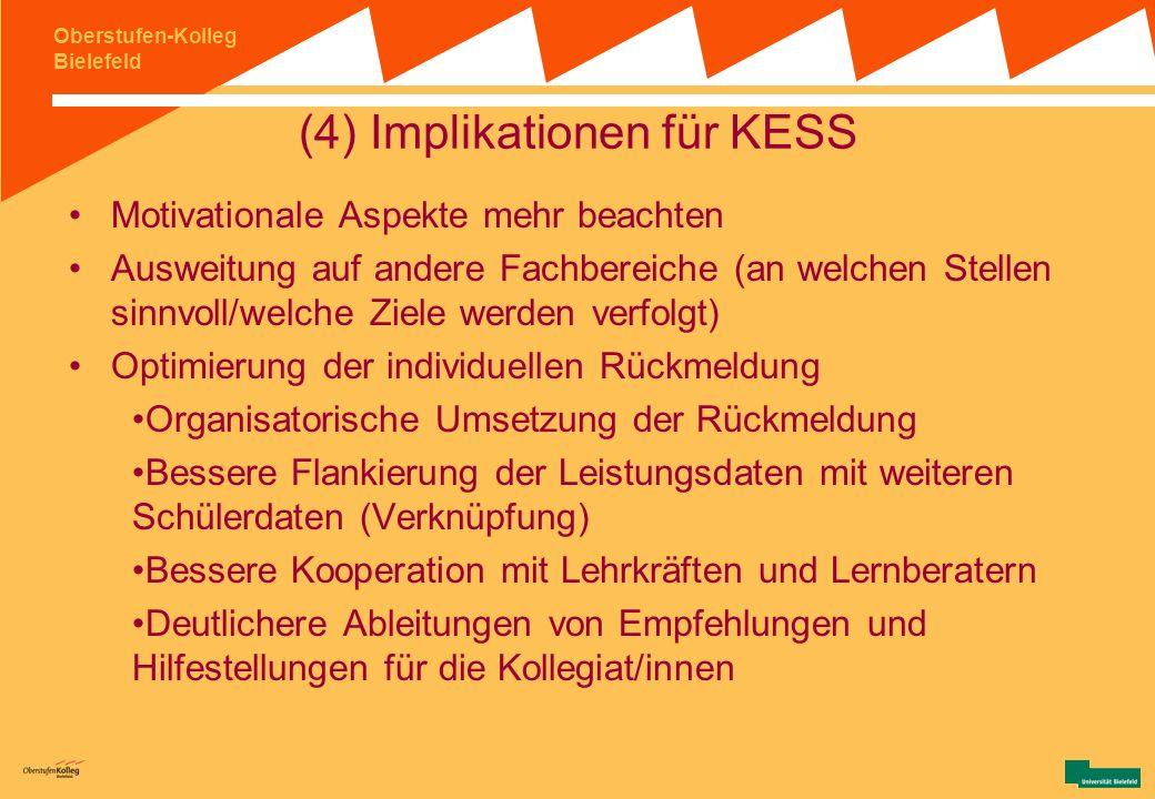 Oberstufen-Kolleg Bielefeld (3) Zusammenfassung und Bewertung III mit der individuellen Rückmeldung auf Grundlage von Large- Scale- Assessments ist ei