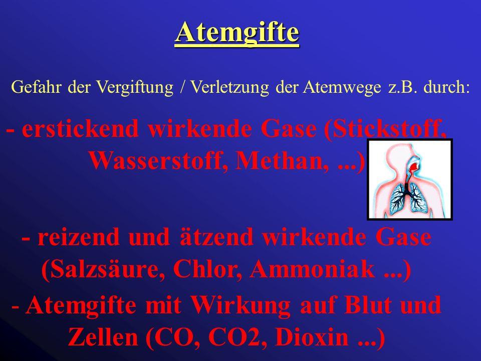 Atemgifte Gefahr der Vergiftung / Verletzung der Atemwege z.B.