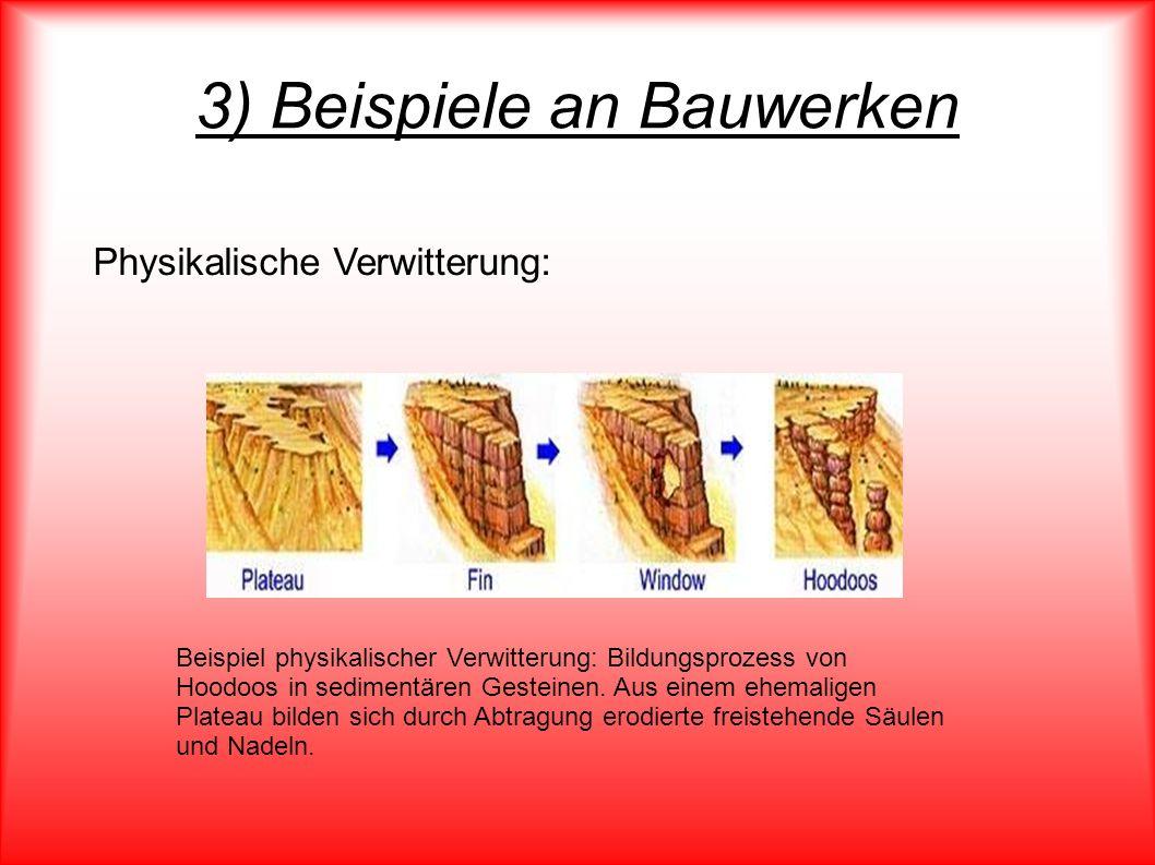 3) Beispiele an Bauwerken Beispiel physikalischer Verwitterung: Bildungsprozess von Hoodoos in sedimentären Gesteinen. Aus einem ehemaligen Plateau bi