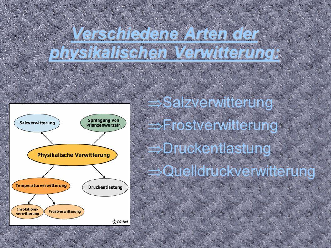 Verschiedene Arten der physikalischen Verwitterung: Salzverwitterung Frostverwitterung Druckentlastung Quelldruckverwitterung