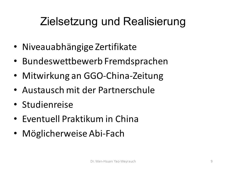Niveauabhängige Zertifikate Bundeswettbewerb Fremdsprachen Mitwirkung an GGO-China-Zeitung Austausch mit der Partnerschule Studienreise Eventuell Prak